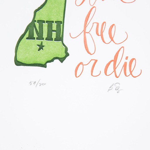 one canoe two letterpress New Hampshire State Print