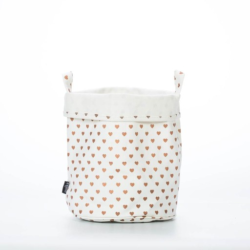 Maika Large Copper Heart Canvas Bucket