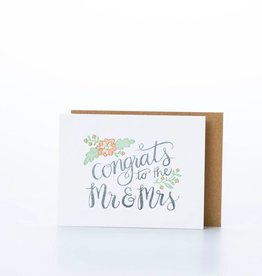 one canoe two letterpress Mr + Mrs Congrats Card