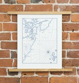 quail lane press Portsmouth Harbor Letterpress Map Print