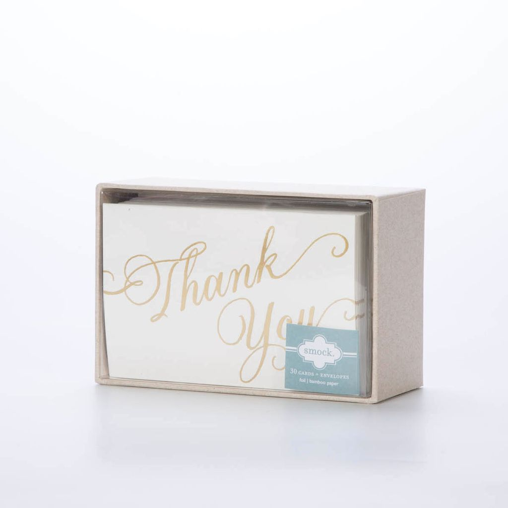 Smock SMNSTY0035 - Script Thank You (gold foil), 30 pack