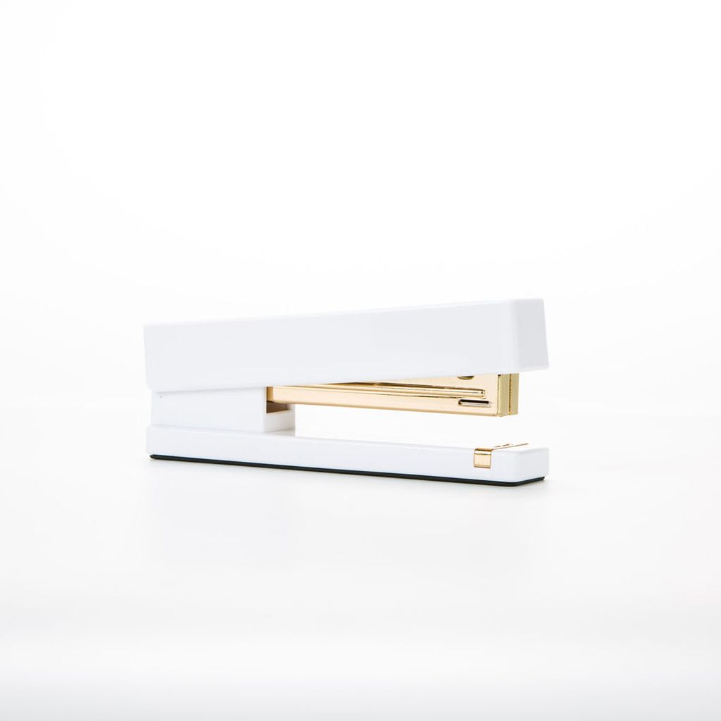 Poppin White and Gold Stapler