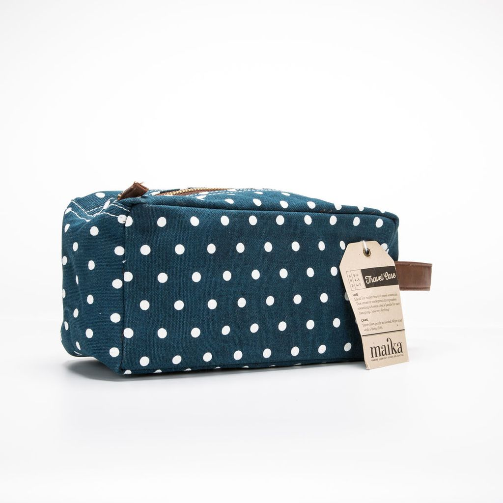 Maika Navy Dots Canvas Dopp Kit