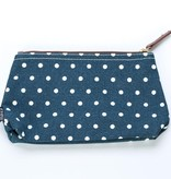 Maika Large Navy Dots Canvas Pouch