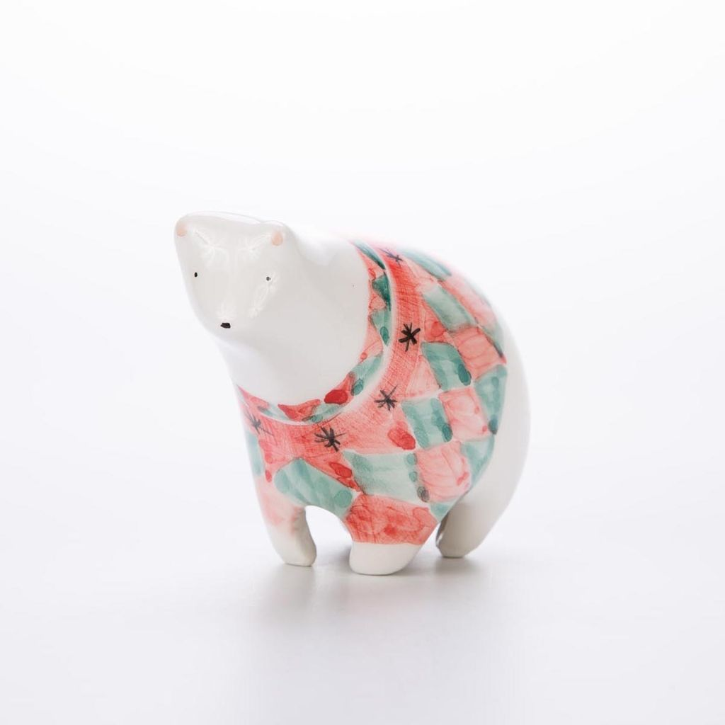 Barruntando Diamond Holiday Polar Bear Ceramic Miniature