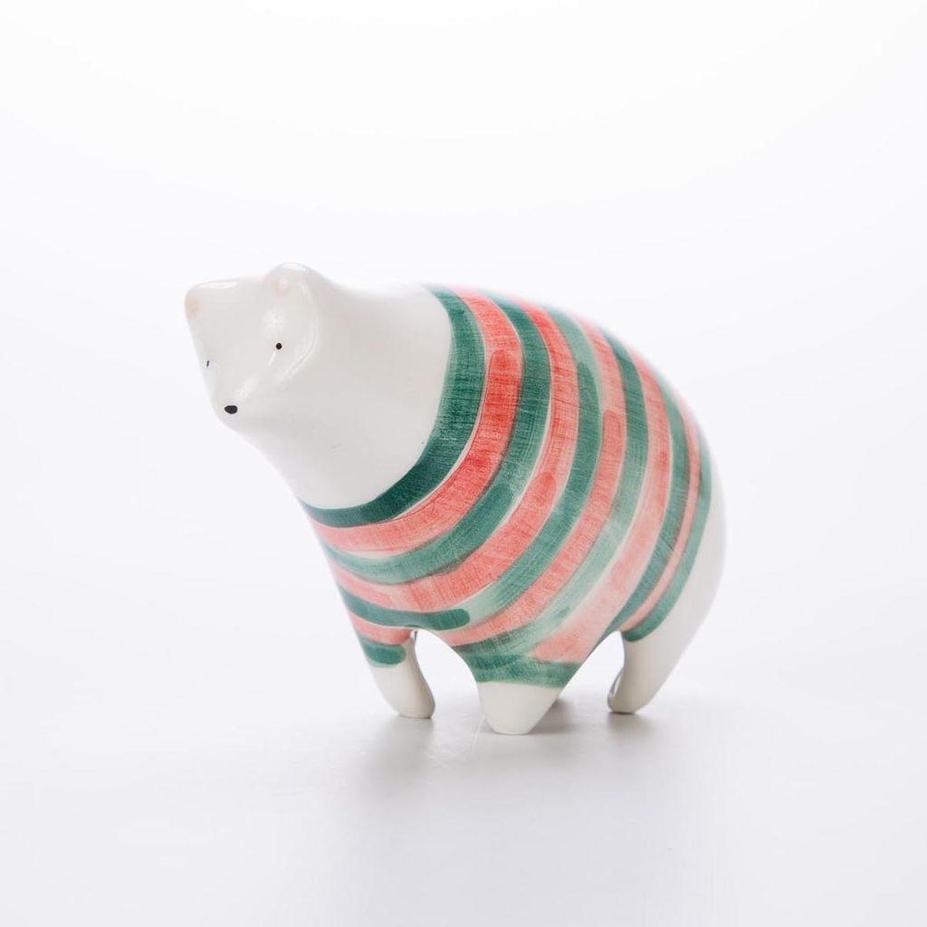 Barruntando Striped Holiday Polar Bear Ceramic Miniature