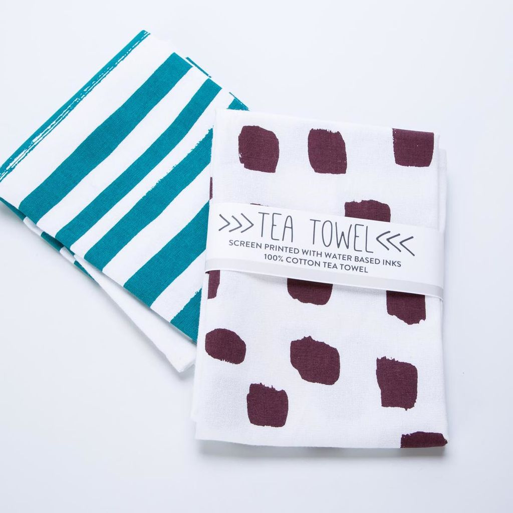 Such Sweet Tierney Burgundy Dot Tea Towel