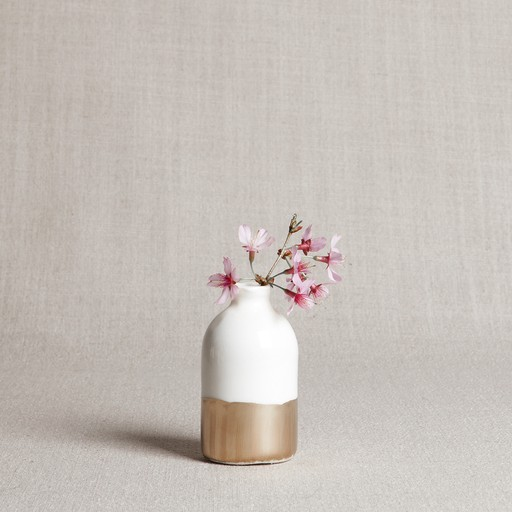 Honeycomb Studio White + Gold Bud Vase