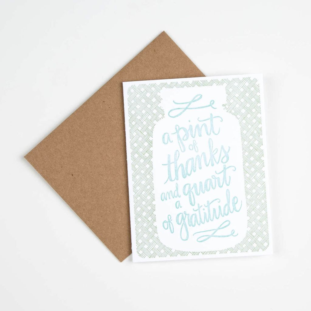one canoe two letterpress Pint of Thanks Card