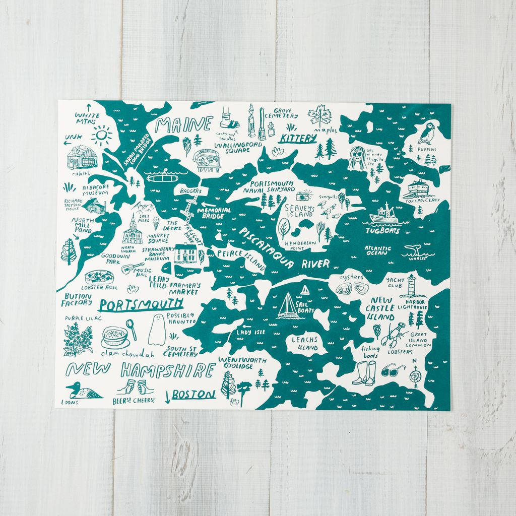 People Ive Loved Teal Portsmouth + Kittery Map Art Print