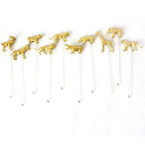 Gnome Sweet Gnome Gold Wild Animal Drink Stirrers