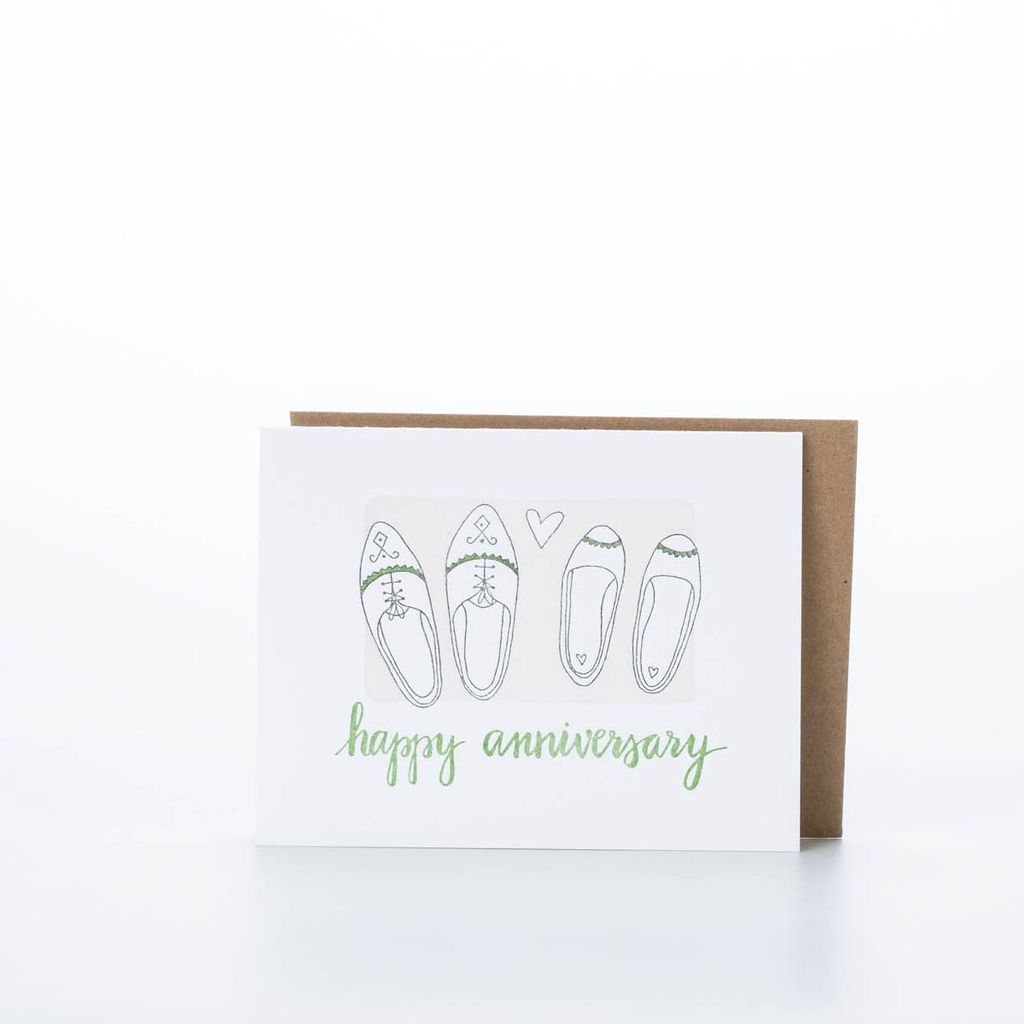 one canoe two letterpress Happy Anniversary Shoes