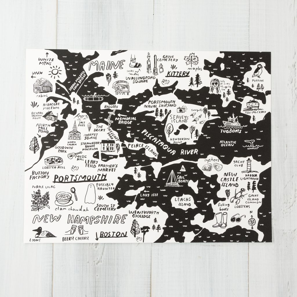 People I've Loved Black Portsmouth + Kittery Map Art Print