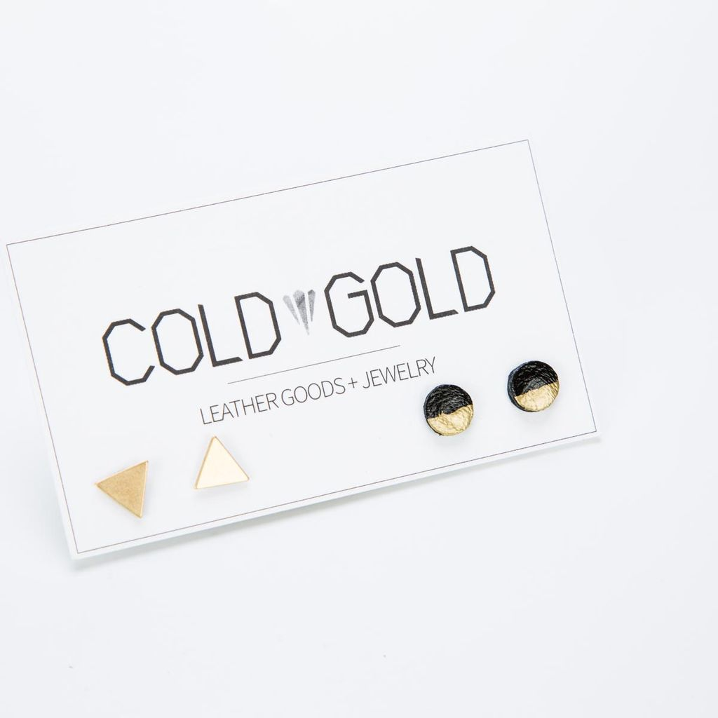Cold Gold Leather + Brass Triangle Earrings