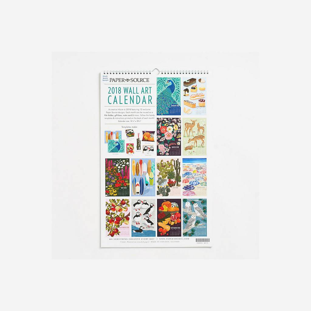 Waste Not Paper 2018 Wall Art Calendar