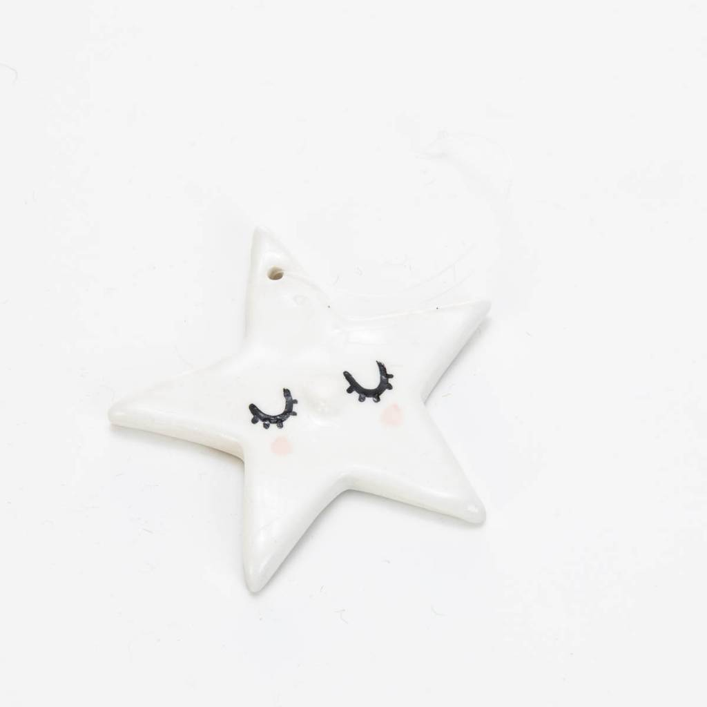 HInkleville Handmade Sleepy Star Handmade Ceramic Ornament