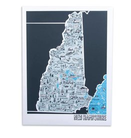 "Brainstorm Print and Design NH Map Screen Print 18""x24"""