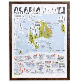 "Brainstorm Print and Design Acadia National Park Map Screen Print 18""x24"""