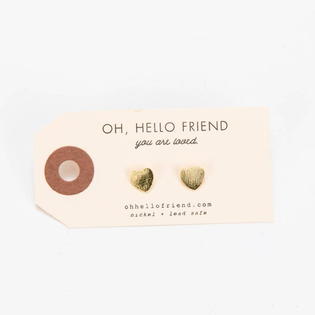 Oh Hello Friend Heart Stud Earrings, Gold