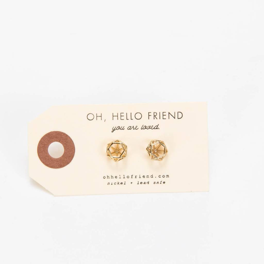 Oh Hello Friend Prism Stud Earrings, Gold
