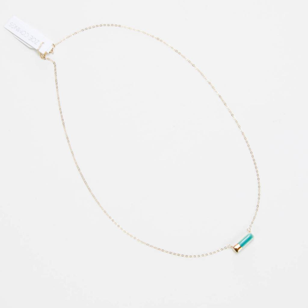 Zoe Comings Teeny Reed necklace, teal/gold