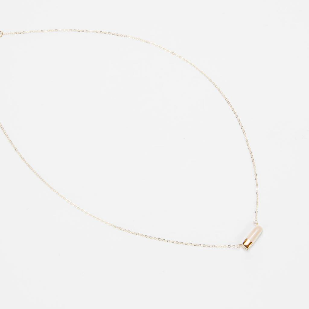 Zoe Comings Teeny Reed necklace, nude/gold