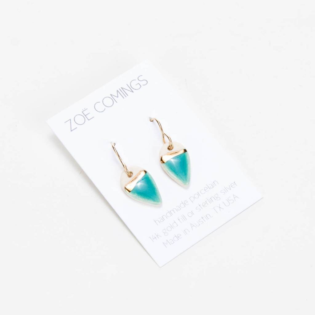 Zoe Comings Teal + Gold Tiny Petal Earrings