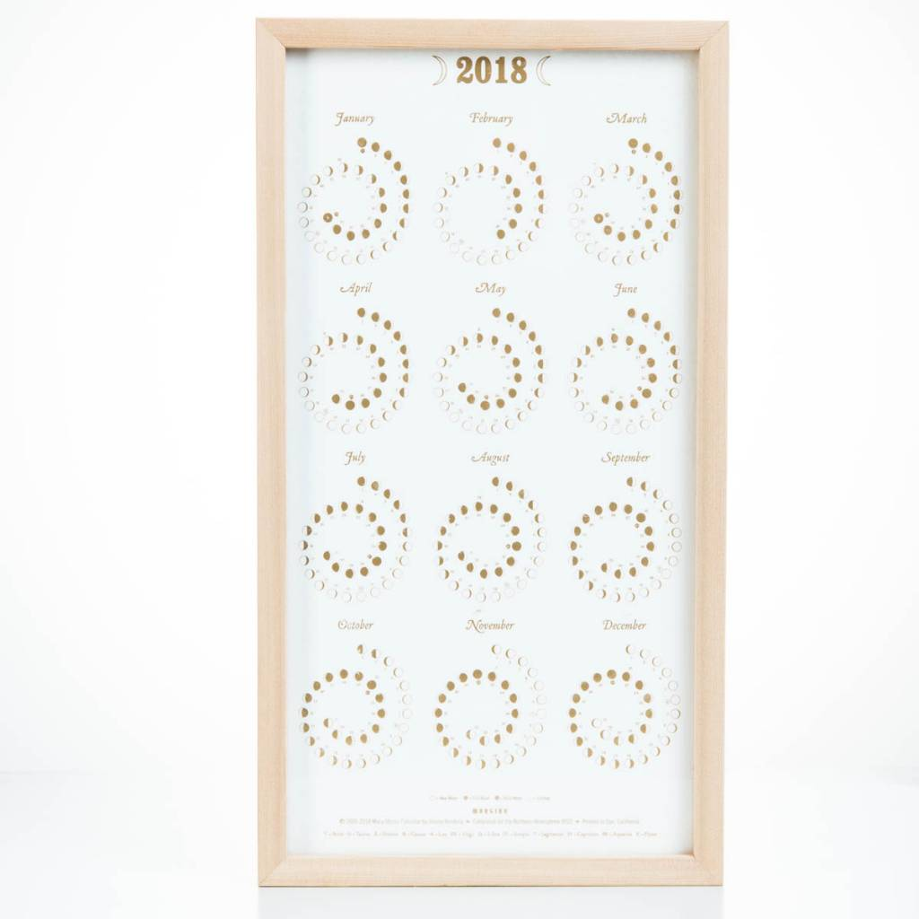 Margins Imprint Gold + White 2018 Framed Moonphase Calendar