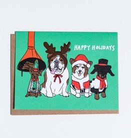La Familia Green Vintage Holiday Dogs Greeting Card