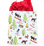 Waste Not Paper Skiing Holiday Dogs Medium Gift Bag
