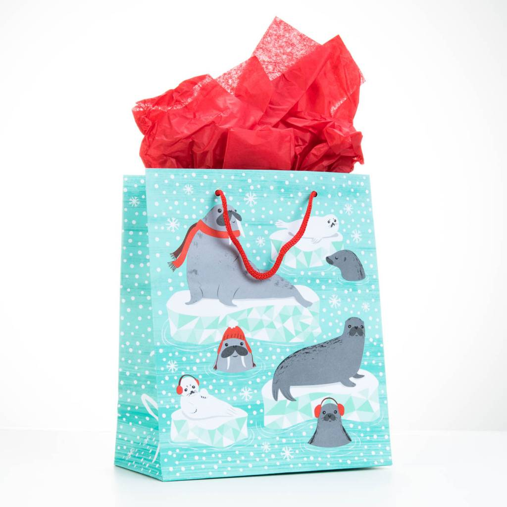 Waste Not Paper Arctic Critters Small Gift Bag