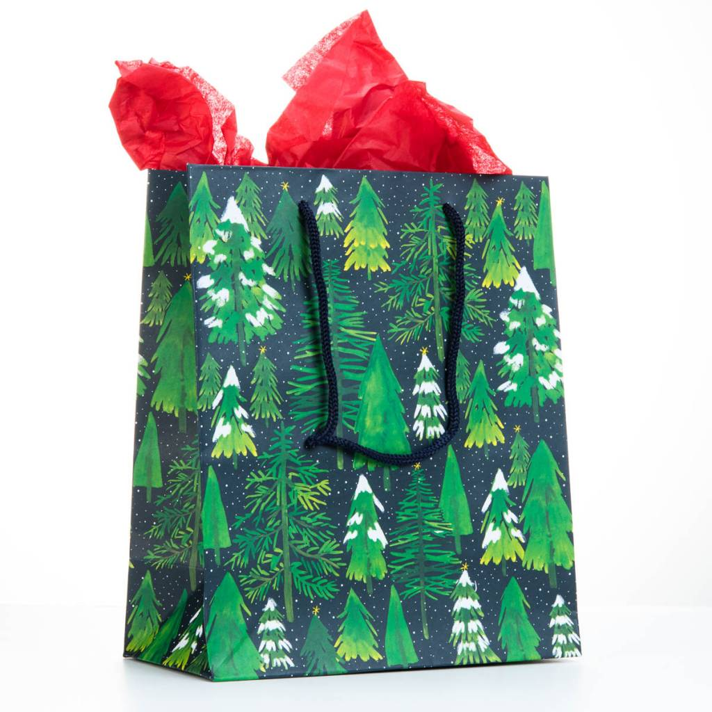 Waste Not Paper Snowy Trees Medium Gift Bag