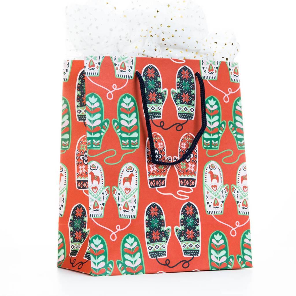 Waste Not Paper Cozy Mittens Medium Gift Bag