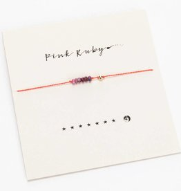 Mai Lin Jewelry Silk cord bracelet, Pink Ruby