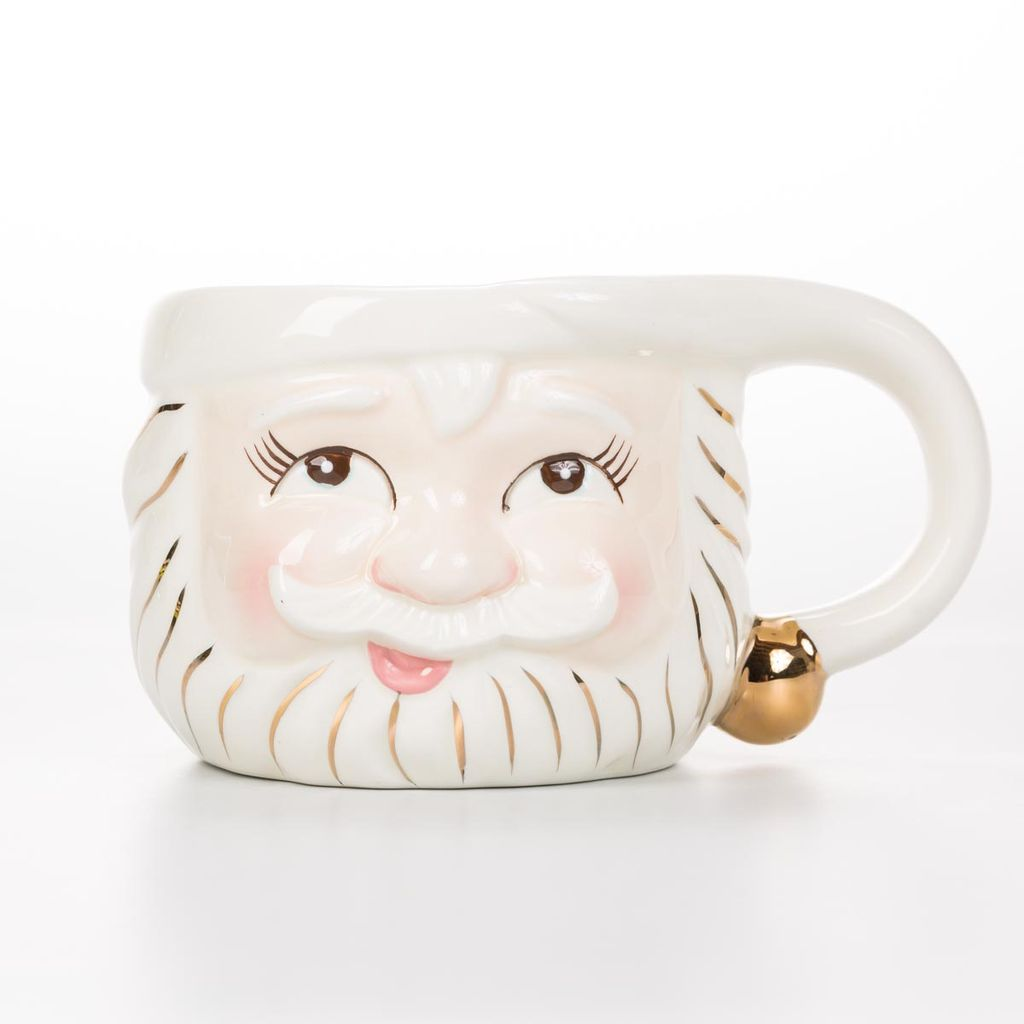 One Hundred 80 Degrees White Santa Mug (Open Eyes)