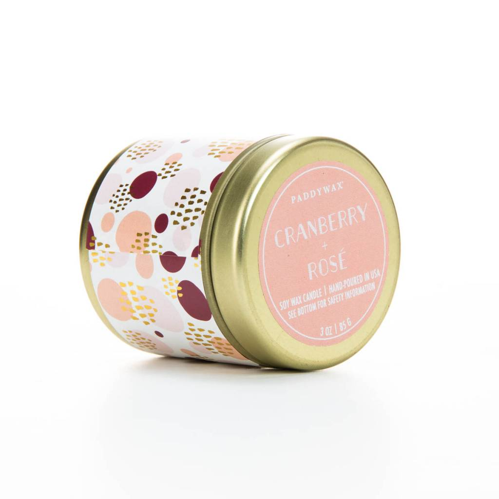 Paddywax Cranberry + Rose candle tin