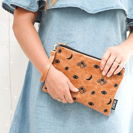 Zana Midnight Leather Clutch