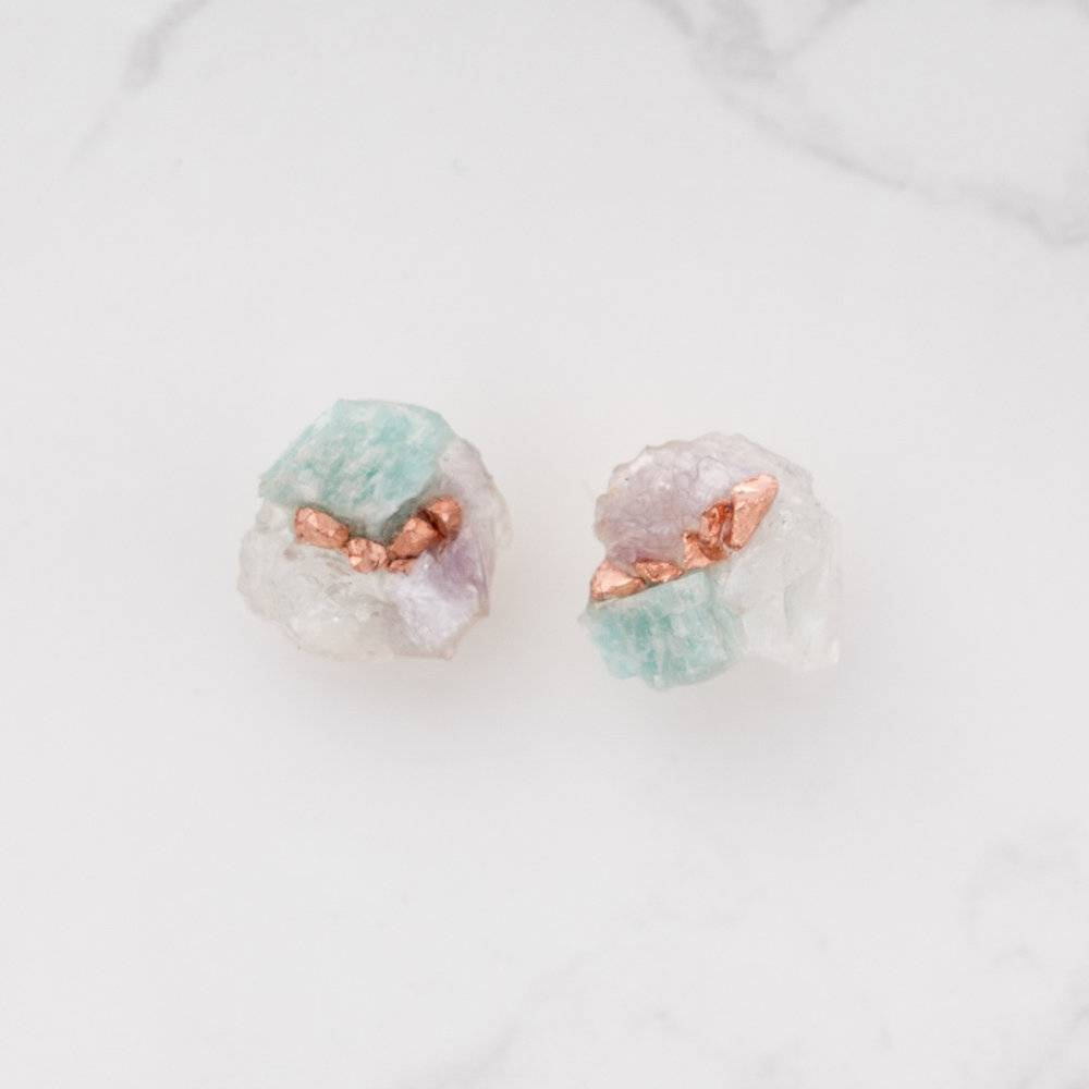 Dear Survivor Isle Cluster Studs with Aquamarine, Amazonite, Lepidolite and Copper