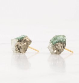 Dear Survivor Serpentine Cluster Studs with Ziosite, Pyrite, and Green Fluorite