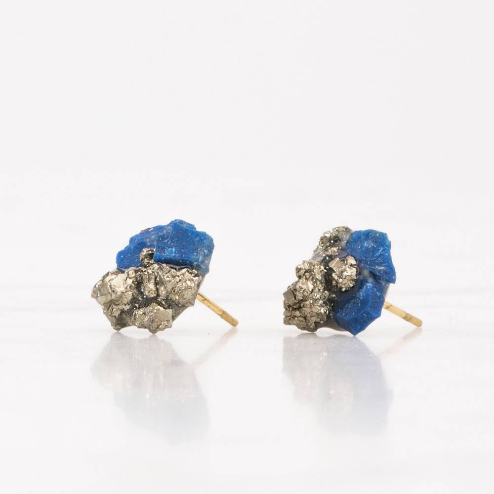 Dear Survivor Indio Cluster Studs with Lapis Lazuli & Pyrite