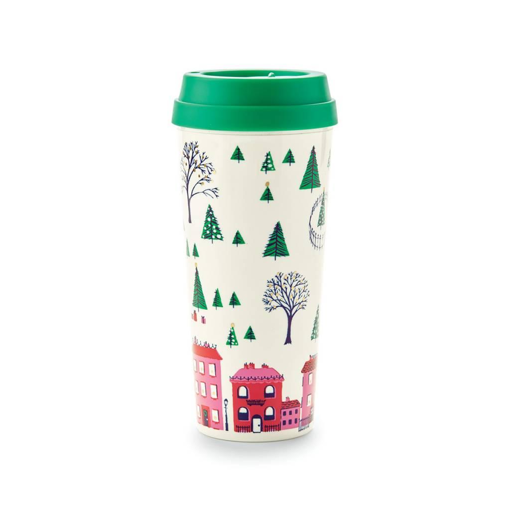 Kate Spade Holiday Village thermal mug