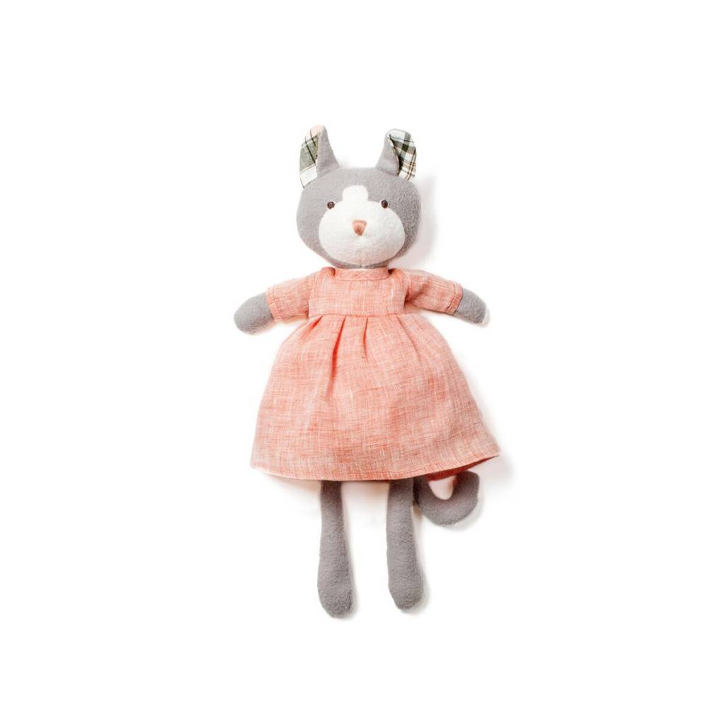 Hazel Village Gracie Cat in Coral Linen Outfit