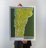 "Brainstorm Print and Design Vermont Map Screen Print 18""x24"""