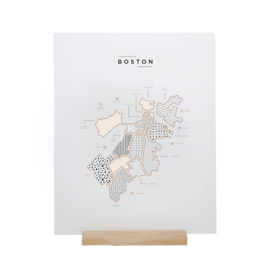 42 Pressed 42PPRSM - Boston Map Foil Print, 16x20