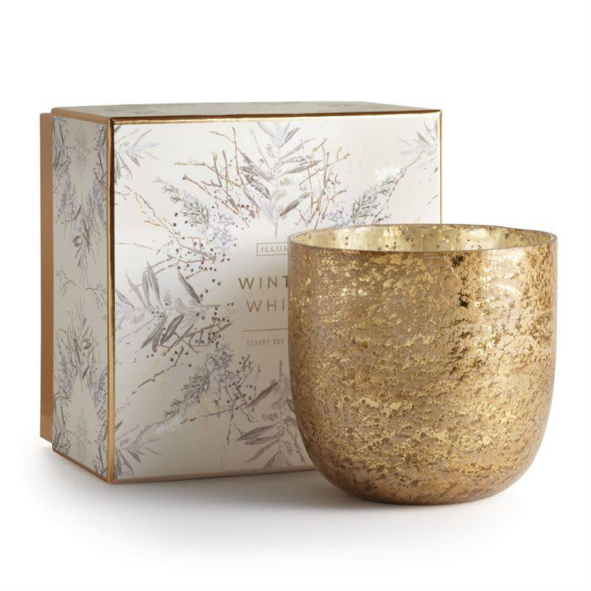 illume candles Winter White Luxe Sanded Mercury Glass Candle