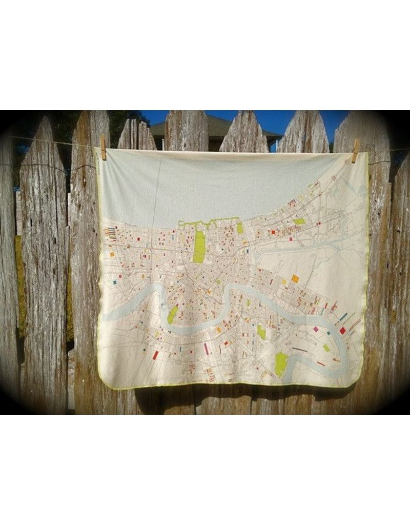 Ellen Macomber ELM Designs Organic New Orleans Map Blanket