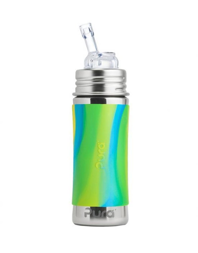 Pura Pura Kiki 9 oz Insulated Straw Cup Aqua Swirl