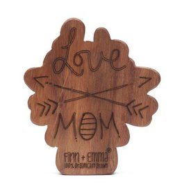 Finn + Emma Wood Rattle Teether Love Mom + Dad