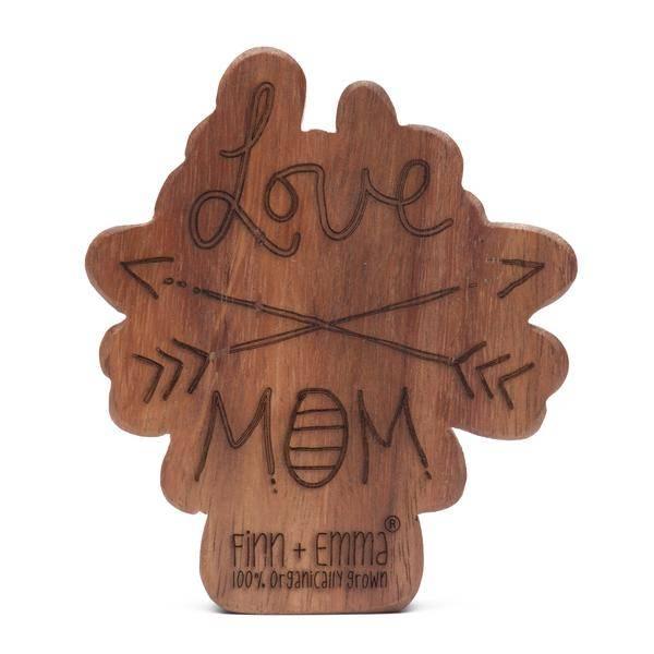 Finn + Emma Wood Rattle Teether Love Mom + Dad