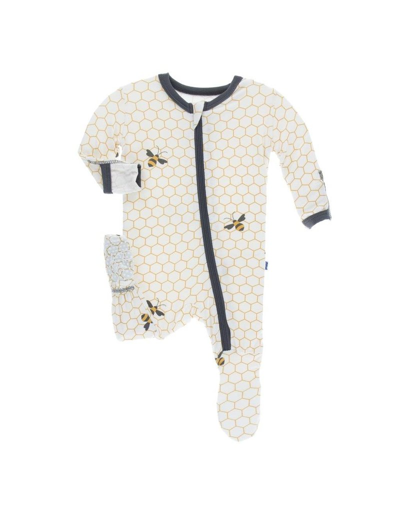 KicKee Pants KicKee Pants Print Zipper Footie - Natural Honeycomb